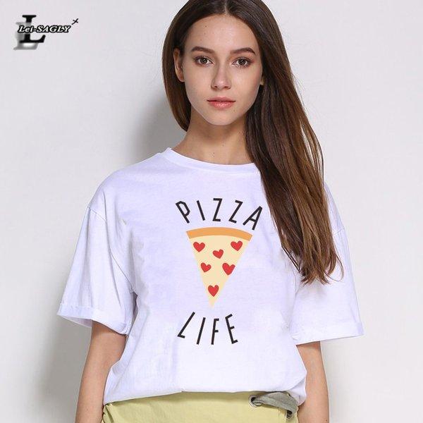 T-Shirt da donna stile estivo Lei-SAGLY Pizza Grafica Stampata Tumblr T-shirt da donna carina Maglietta casual O-Collo manica corta