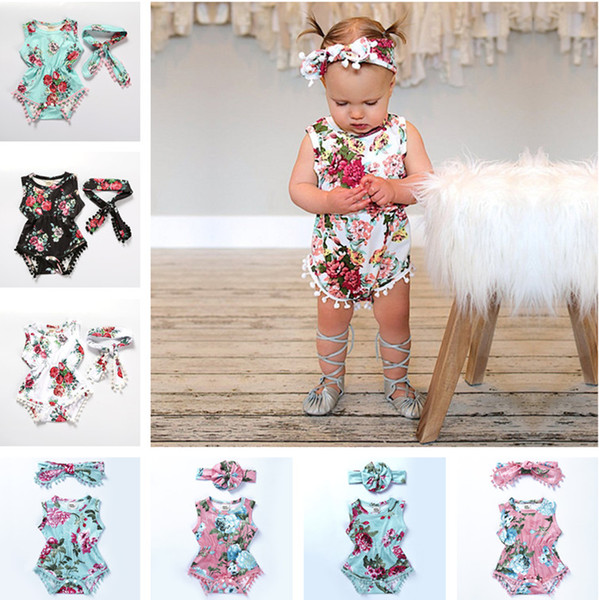 top popular Summer Baby Girl Rompers Pretty Flower Tassel Romper + Headband 2PCS Baby Girls Clothing Floral Jumpsuits Kids Girl Jumpsuit Outfits B11 2019