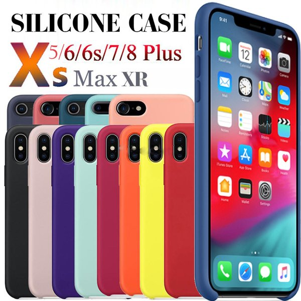 have logo official original liquid silicone rubber soft shock cover case for apple iphone 11 pro max xs xr x 8 7 6 6s plus with retail box