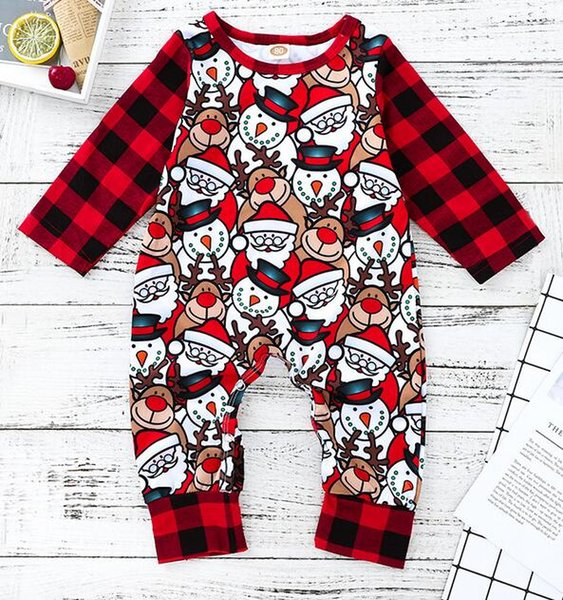 New Baby Rompers Spring Autumn Baby Boy Clothes New Romper Newborn Baby Girls Kids Plaid Christmas cartoon Infant Jumpsuits Clothing