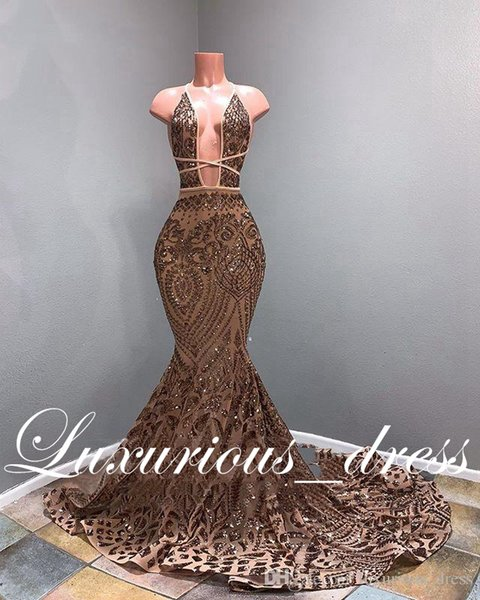 Long Sparkly Prom Dresses 2019 Sexy Mermaid Style Deep V-neck African Black Girl Rose Gold Sequin Prom Gowns Formal Evening Dresses