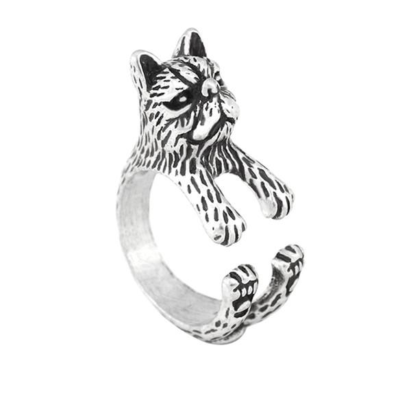 Anillo de gato persa de pelo corto gótico de plata vintage Anel Boho Chic Wedding Cat Animal Anillos para mujeres Hombres Joyería Mejor amigo Regalo de bebé