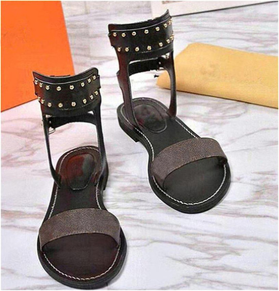 Luxury women nomad sandals Summer Ladies Canvas gladiator style flats sandal black golden sandals for Party Sexy Fashion Ladies Shoes Q45