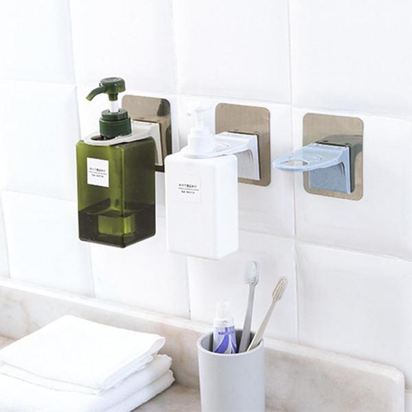 Wall Mounted Magic Sticky Shampoo Hook Shower Hand Soap Bottle Hanging Holder Bathroom Hanger