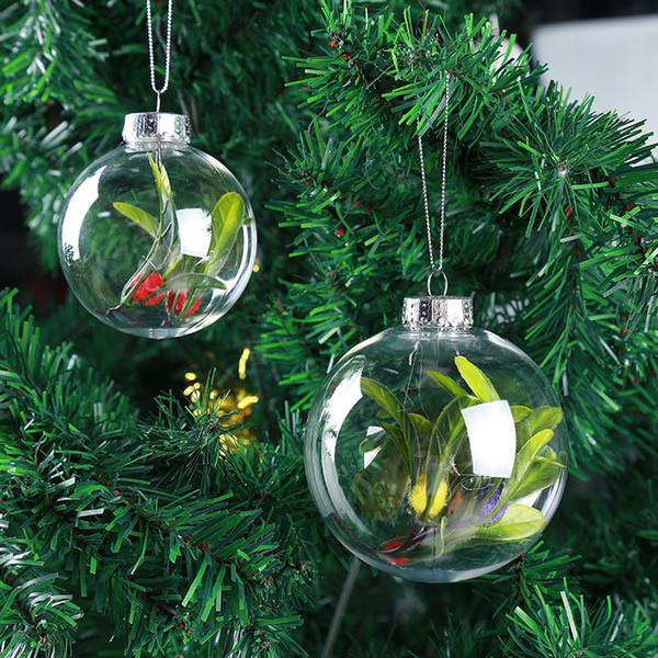 Hanging Christmas Decorations Outside.6cm 8cm 10cm Christmas Decorations Balls Transparent Hanging Christmas Ball Baubles Clear Plastic Christmas Bauble Ornaments Gift Outside Christmas