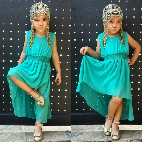Wholesale Green Dresses kids designer clothes girls Summer Ankle Long Asymmetrical Baby Girls Dress Polyester Chiffon Sleeveless Dresses