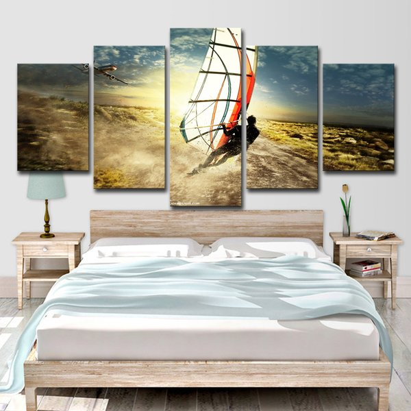 5 Piece Canvas Art Paintings HD Printed Ocean Art Sail Seascape Surfing Room Decor Canvas Prints Art Posters Painting