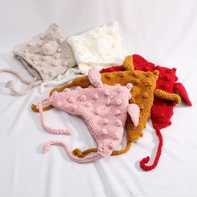 قبعة الطفل آذان أرنب اليدوية التصميم الجديد قبعة الأطفال بلون محبوك الصوف قبعة الخريف والشتاء الرجال والنساء غطاء للأذنين قبعة EEA218