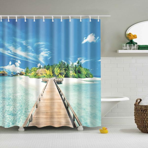 Modern Sea Beach scenery print Shower Curtain Blue Bathroom 3D Blackout Shower curtain Large 180x200cm for bathroom Curtain