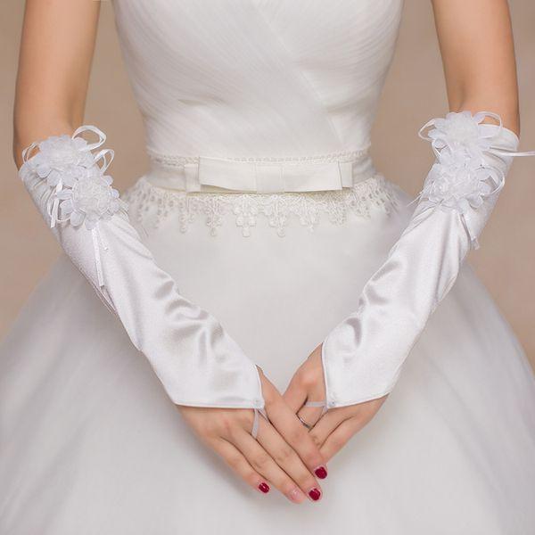 Princess White Satin Fingerless Bridal Gloves Elbow Length Hand Make Flowers Vintage Style Long Simple Wedding Accessories Women Gloves B10