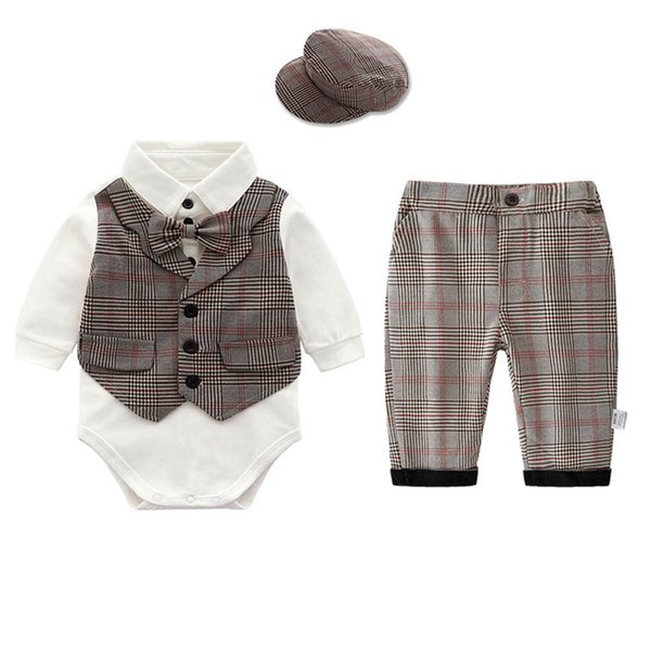 newborn outfits newborn baby boy clothes baby suits boys clothing sets romper+suspender shorts+hats baby infant boy designer clothes A5740