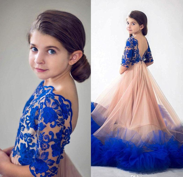 Princess Royal Blue Flower Girls Pageant Dresses for Wedding Designer Backless Lace Appliques Ruffles Kids Formal Wear First Communion Dress