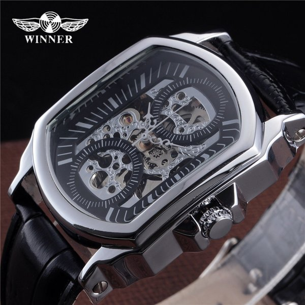 2018 New Fashion Winner Brand Automatic Skeleton Watch Tonneau Design Leather Band Men Vintage Luxury Mechanical Wrist Watches J190614