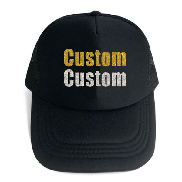 Custom Trucker Mesh Back Hat Embroidered Your Own Text Curved Mesh Cap Woman Glitter Powder Hot Stamping Team Wedding Ceremony letter hat