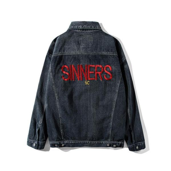 2018 Mode Luxe Automne Hiver Hommes Femmes Europe de Paris Sinners Jeans Vintage Veste épais manteau rue Veste en jean