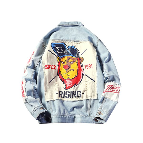 spring & autumn street fashion jacket for man with patch design retro print denim jacket plus size hip hop coat for men garments - from $41.58