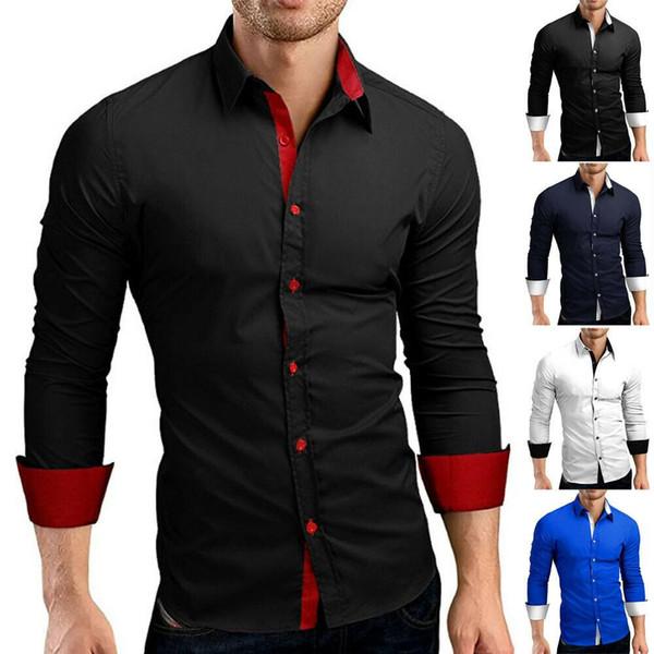 2800 # 5 цвет M-4XL Мода мужская роскошная рубашка с длинным рукавом повседневная Slim Fit стильные классические рубашки топы