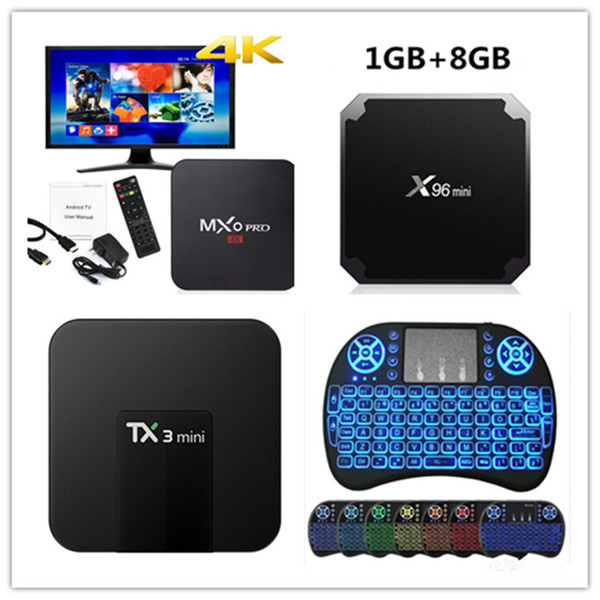 top popular MXQ Pro 4k Smart TV BOX RK3229 Allwinner H3 S905W Quad Core Android 7.1 iptv TX3 Mini X96 Mini MX3 i8 keyboard 2019