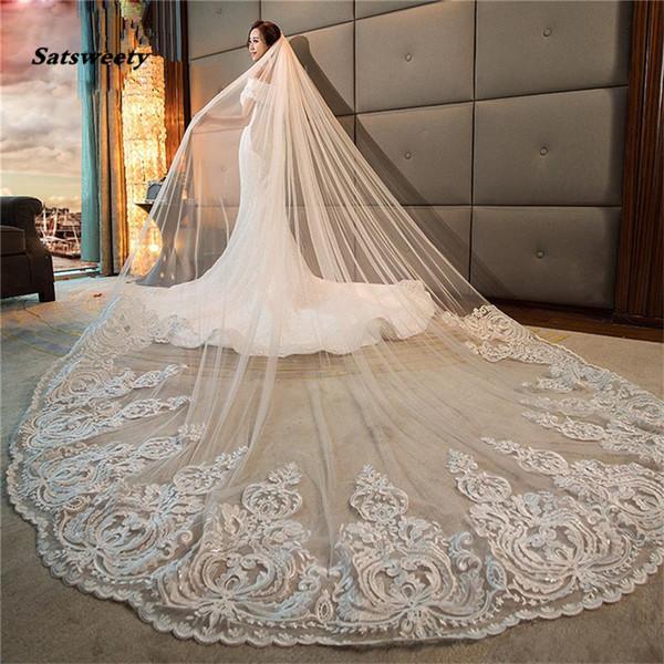 Romantik Uzun Gelin Veils Katedrali Uzunluğu Dantel Aplike 3 M Düğün Peçe Ile Ücretsiz Tarak Beyaz Fildişi Yüksek Kalite