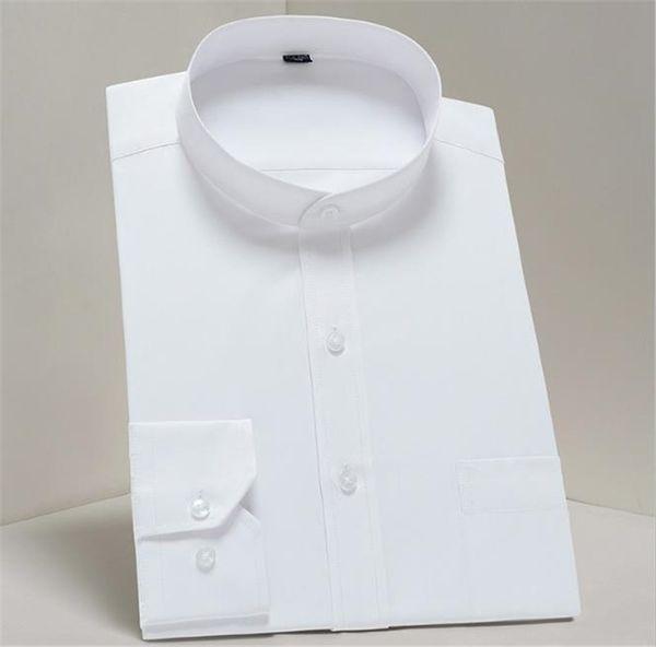 Erkek Katı Renk Gömlekler Uzun Kollu Mandarin Yaka İş Stil Homme Tişörtleri Slim Fit Moda Giyim