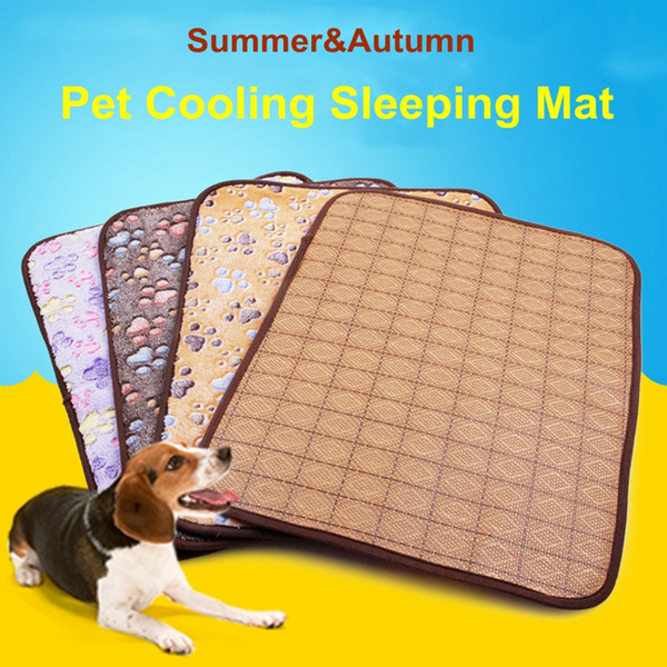 Pet Dog Cat Summer and Autumn Sleeping Cool Mat Pad Double Sided Rattan Dog Sleeping Cooling Floor Mats Cold Cushion 4 Sizes DHL