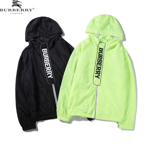 Designers new light windproof and sunscreen micro-mark printed fluorescent strip cap jacket with hollow back design and all inside edge-wra