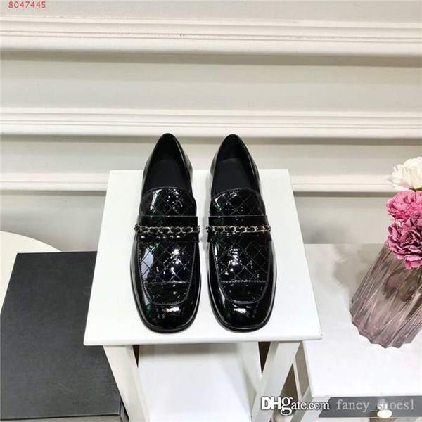 son Ekose deri deri ayakkabı, düşük topuklu deri topuk taban dana zincir dekorasyon ve renk eşleştirme, Eşleştirme Ambalaj Womens