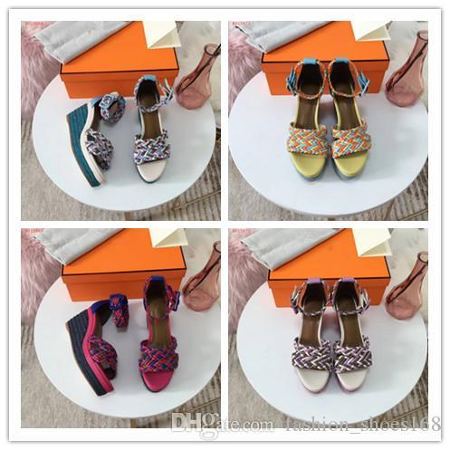 Luxury fashion women ladys multicolor knit pitch high heels wedge sandals party shoes casual shoes platform shoes pumps slippers new style