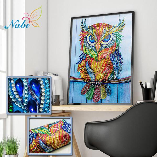 Оптовая животных специальная форма Алмаз живопись картина горный хрусталь бисероплетение Сова Алмаз мозаика продажа ремесло комплект Home Decor 40x30cm