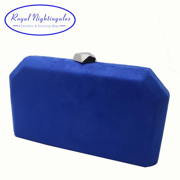 Royal Nightingales Velours En Daim Dur Boîte Embrayage Soirée Sacs De Soirée Embrayages Et Sacs À Main Pour Femmes Royal Bleu Rouge Y19062105