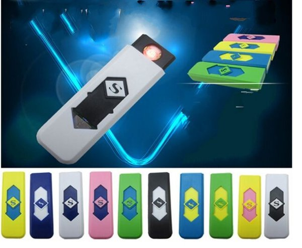 USB Rechargeable Cigarette Lighter Electronic Cigarettes Lighter Windproof Flameless No Gas Fuel ABS Flame Retardant Plastic
