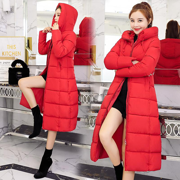 S-6XL 2019 New spring winter Women Fashion Down long hoodie down Parkas Cotton Jackets Thick Female Long warm coat clothing