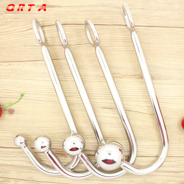 long 22.5cm Sexy Slave Top Quality Stainless Steel Anal Hook with Ball Hole Metal Anal Plug Butt Anal Sex Toys Adult Products Y18110402