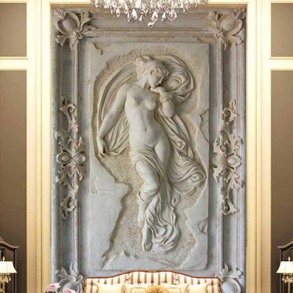 Photo faite sur commande Fond d'écran de style européen Statue Figure 3D gaufrée murale Hôtel Salon Backdrop murale mur Papiers 3D Home Decor