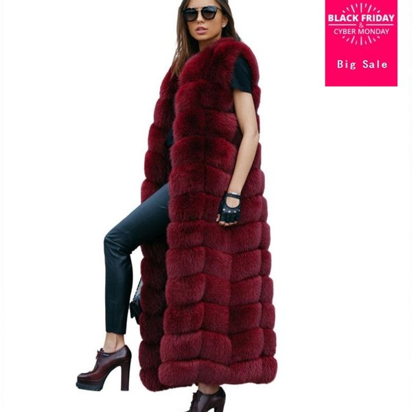 12steps 130cm Super Long Fur Vest Winter Women Luxury Faux Fox Fur Vest Furry Slim Woman Fake Plus Size Faux wq48