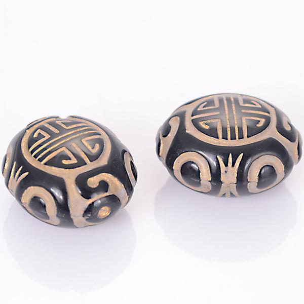 30 Pcs 22x20x13mm Acrylique Plat Forme Ovale En Plastique Antique Design Perles Pour Bricolage Fabrication De Bijoux Accessoires