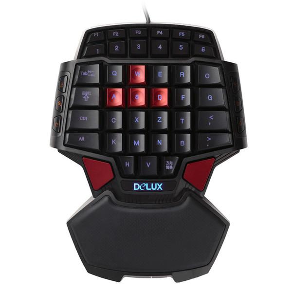 Delux T9U Einhand-Tastatur 41 Standardtasten Einhandtastatur mit LED-Hintergrundbeleuchtung für LOL DOTA 2 Game Player PC