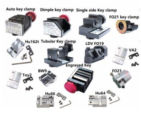 top popular Original Full Key Clamps Work For SEC E9 Key Cutting Machine Dimple Single-side Tubular Hu162t FO21 FO19 BMW9 TOY2 VA2 Engraved Key Clamp 2019