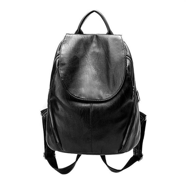 Soft Pu Leather Women Backpack Simple Style Shoulder Bag Sewing Thread School Backpack Travel Bag Large Capacity Daily Use Bag