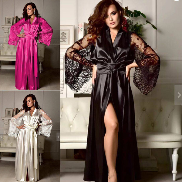 Women Sexy Silk Dressing Babydoll Lace Lingerie Belt Bath Robe Nightwear Women Sexy Nightwear Plus Size Female Bathrobes