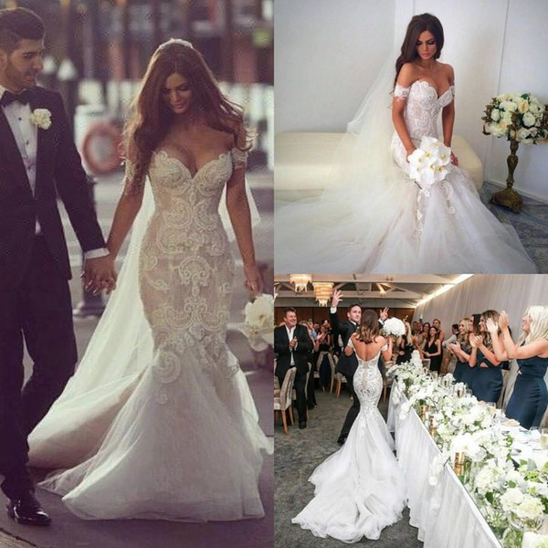 Crochet Lace Mermaid Country Wedding Dresses Off The Shoulders 3d Floral Appliques Backless Fishtail Bridal Gowns Rustic Garden Dress 2019