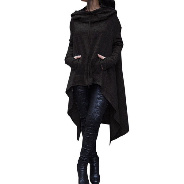 mytl winter women hooded sweatshirts cloak cape long sleeve pullovers cotton long hoodie loose irregular plus size hoodie