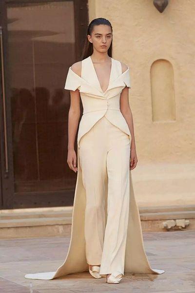 2019 Новая мода белые вечерние платья с V-образным вырезом спагетти комбинезон платье для выпускного вечера с оберткой на заказ длинный поезд платье партии 3997