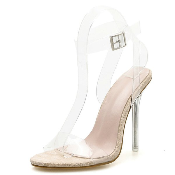 2019 New PVC Jelly Sandals Crystal Open Toed Women Transparent Thin Heels Sandals Buckle Strap Pumps 12CM size 35-42