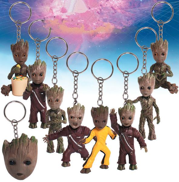 Guardians Galaxy Aksiyon Figürleri karikatür Groot anahtarlık Kolye ile 7.5 cm / 3 inç Anahtarlık kutusu MMA2241