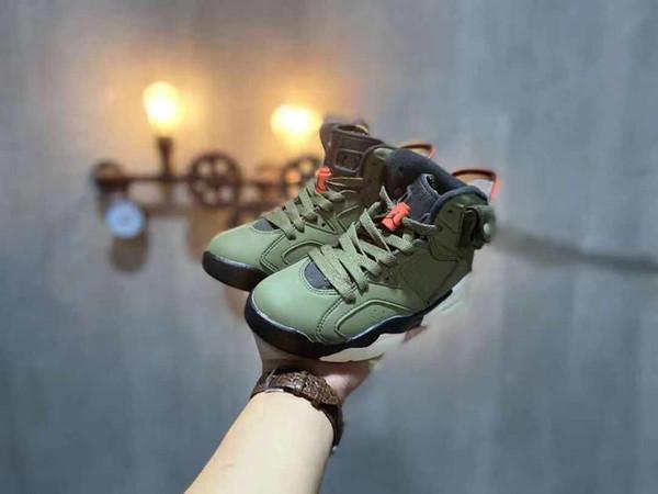 Rétro enfants Travis Scotts x KidJordan 6 Cactus Jack Medium Olive PHOSPHORESCENT Army Green Suede 3M Chaussures de basket-11C Taille 3Y