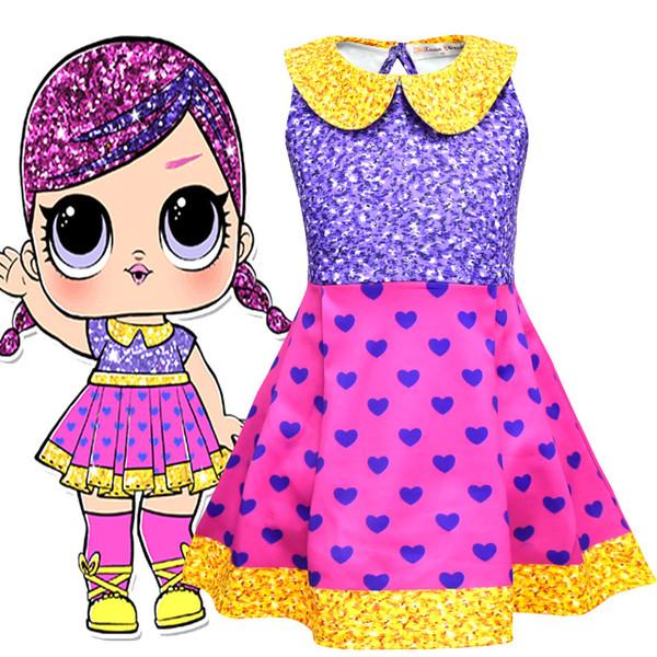 2019 neue stil Mädchen Überraschung Prinzessin Kleider Neue Kinder Cartoon Ärmellose Kleider Kinder Kleidung Sommerkleider A1995