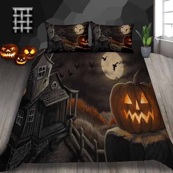 Хэллоуин Окрашенный постельный Установить размер одного Мрачной Мода пододеяльник High End King Queen Double Full Twin Bed Крышка с наволочкой 3штом