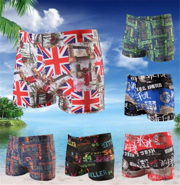 Striped Print Mens Swimming Pants Fashion Pocket Flat Angle Adult Swim Fashion Knee Length Clothing Plus Size Relaxed Apparel