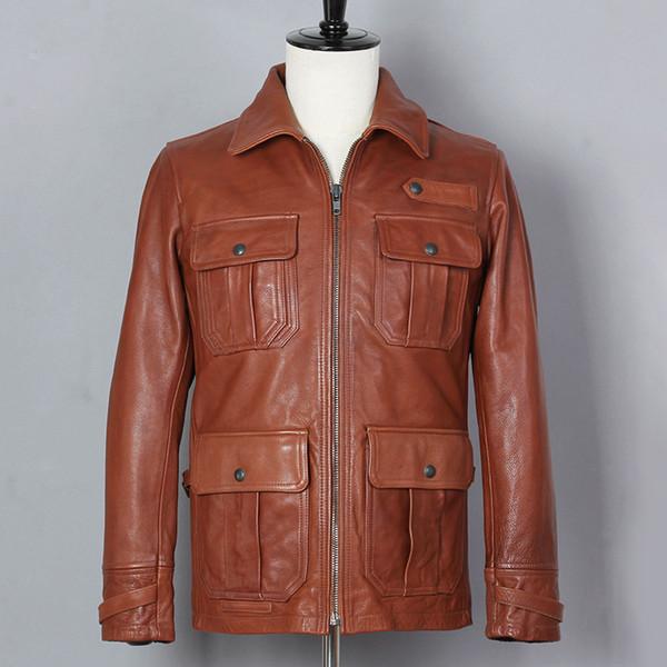 Brown De Genuino Chaqueta 2019 Men Size Compre Plus Xxxl Cuero M65 F5wqUxyaS